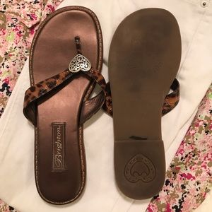 Brighton Shoes - Brighton Cheetah Print Patent Leather Sandals, 8